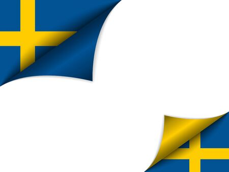 sweden flag:  Sweden Country Flag Turning Page Illustration
