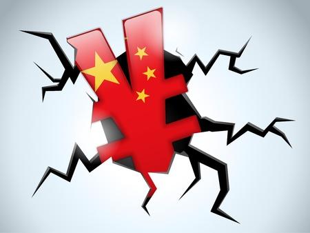 bric: Vector - Yuan Yen Money Crisis China Flag Crack on the Floor Illustration