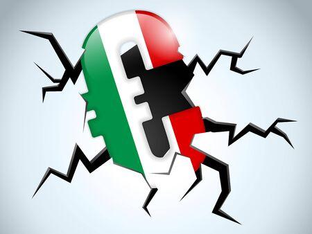 exchange loss: Vector - Euro Money Crisis Italy Flag Crack on the Floor Illustration