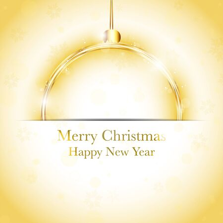 Vector - Merry Christmas Happy New Year Ball Golden with Stars and Snowflakes Vector
