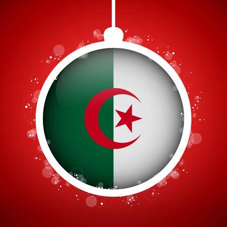 algeria: Vector - Merry Christmas Red Ball with Flag Algeria Illustration