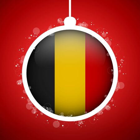 Vector - Merry Christmas Red Ball with Flag Belgium Stock Vector - 16529895