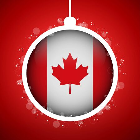 Vector - Merry Christmas Red Ball with Flag Canada Stock Vector - 16529911