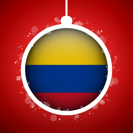 Vector - Merry Christmas Red Ball with Flag Colombia Stock Vector - 16529904