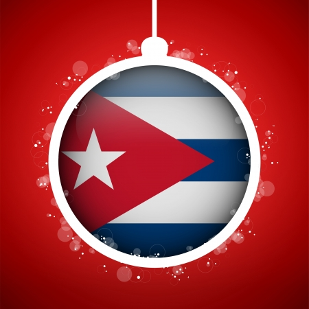 cuban: Vector - Merry Christmas Red Ball with Flag Cuba Illustration