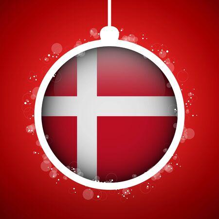 denmark flag: Vector - Merry Christmas Red Ball with Flag Denmark