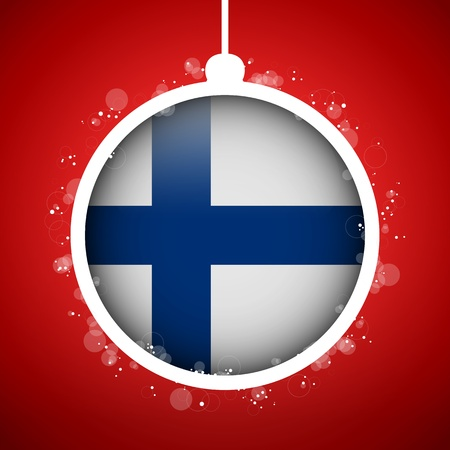 finland: Vector - Merry Christmas Red Ball with Flag Finland