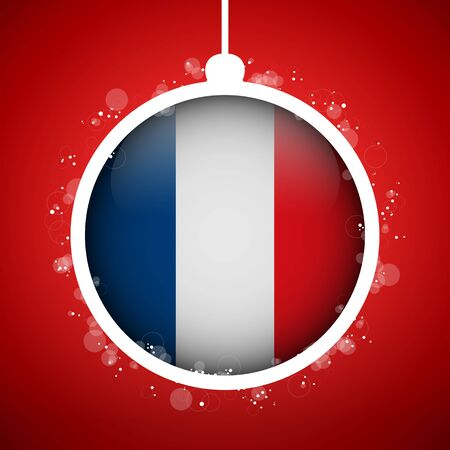 Vector - Merry Christmas Red Ball with Flag France Vector
