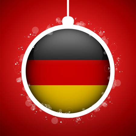 Vector - Merry Christmas Red Ball with Flag Germany Stock Vector - 16529898