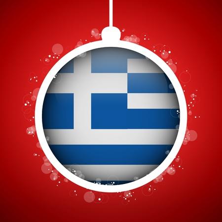 Vector - Merry Christmas Red Ball with Flag Greece Stock Vector - 16529969