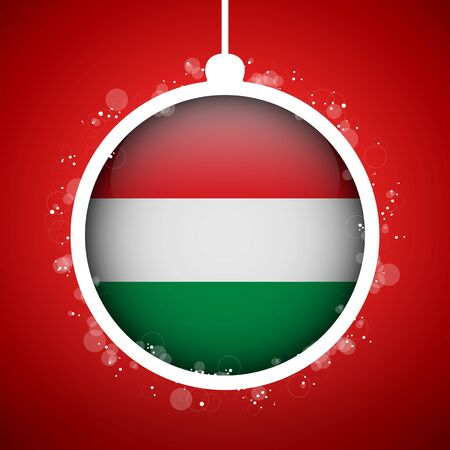 Vector - Merry Christmas Red Ball with Flag Hungary Vector