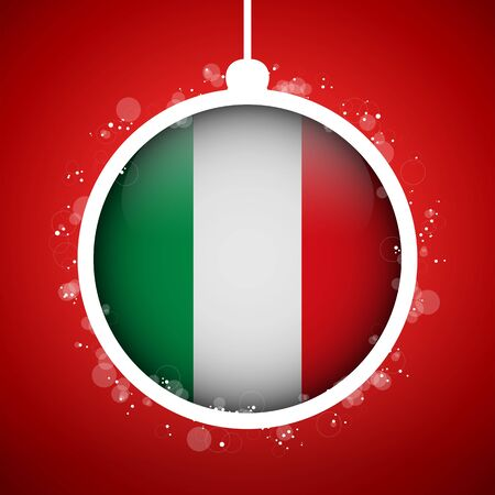 Vector - Merry Christmas Red Ball with Flag Italy Stock Vector - 16529908