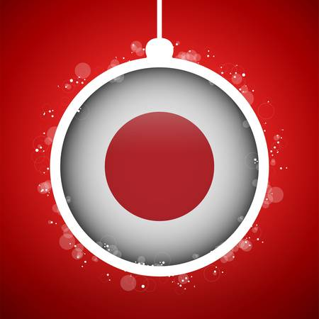 Vector - Merry Christmas Red Ball with Flag Japan Vector