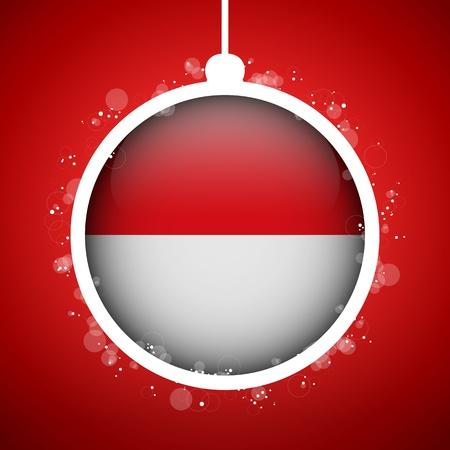 Vector - Merry Christmas Red Ball with Flag Monaco Stock Vector - 16529847