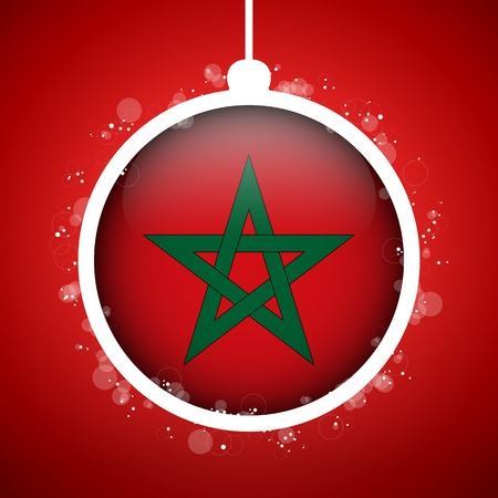 Vector - Merry Christmas Red Ball with Flag Morocco Stock Vector - 16529905