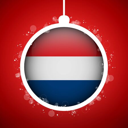 Vector - Merry Christmas Red Ball with Flag Netherlands Vector