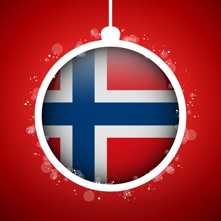 Vector - Merry Christmas Red Ball with Flag Norway Stock Vector - 16529960