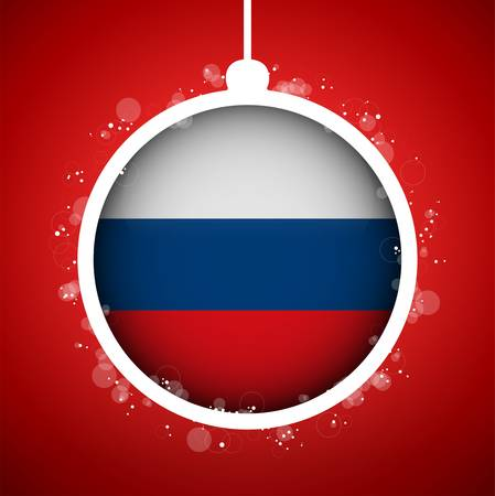 Vector - Merry Christmas Red Ball with Flag Russia Stock Vector - 16529913