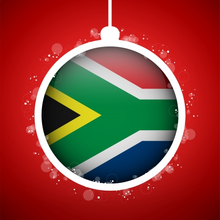 south african flag: Vector - Merry Christmas Red Ball with Flag South Africa