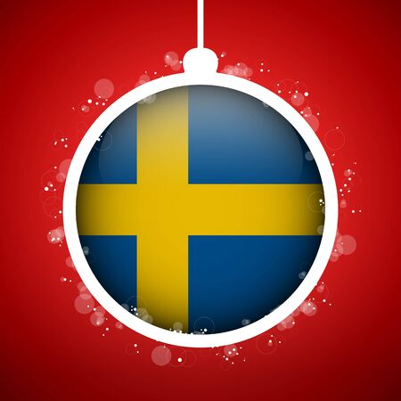 Vector - Merry Christmas Red Ball with Flag Sweden Stock Vector - 16529966