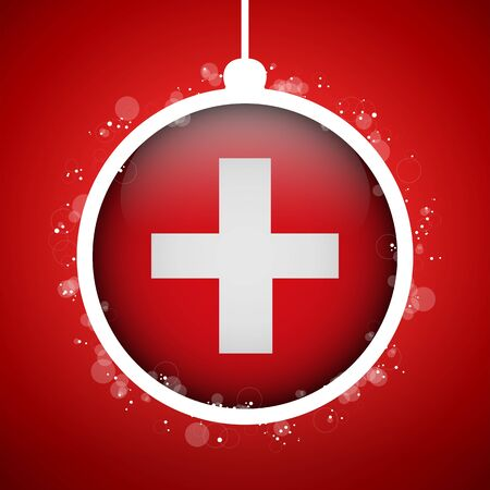 Vector - Merry Christmas Red Ball with Flag Switzerland Stock Vector - 16529953