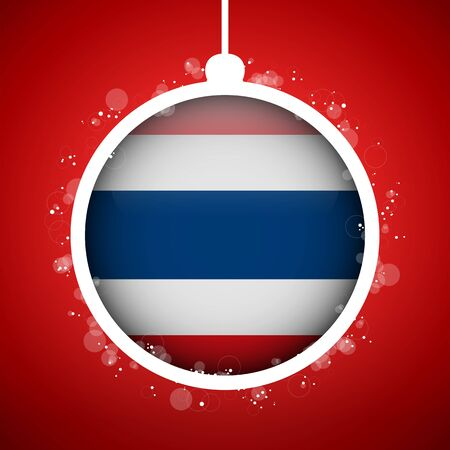 vlag thailand: Vector - Merry Christmas Red Ball met Vlag Thailand