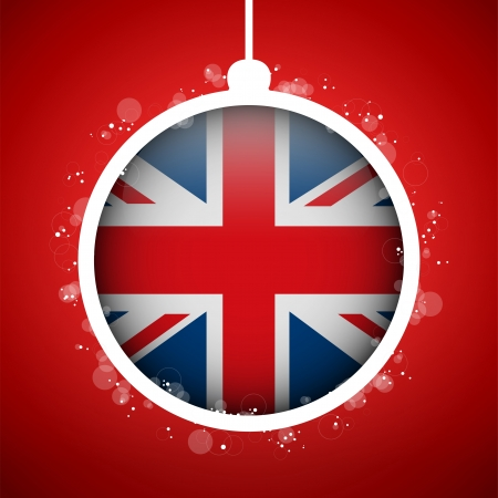 new england: Vector - Merry Christmas Red Ball with Flag United Kingdom UK