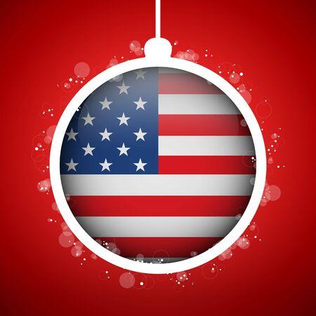 Vector - Merry Christmas Red Ball with Flag USA Illustration