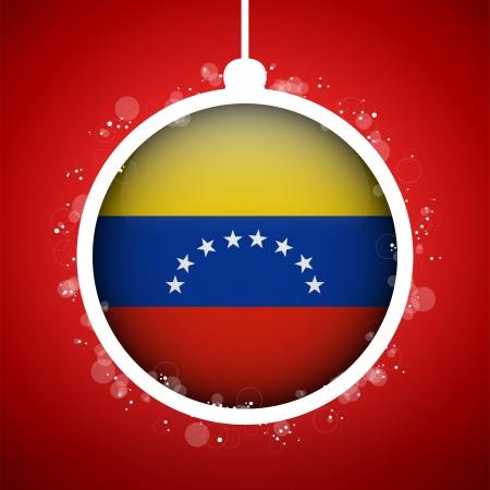 Vector - Merry Christmas Red Ball with Flag Venezuela Stock Vector - 16529903
