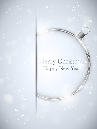 Vector - Merry Christmas Happy New Year Ball Silver with Stars and Snowflakes Vector