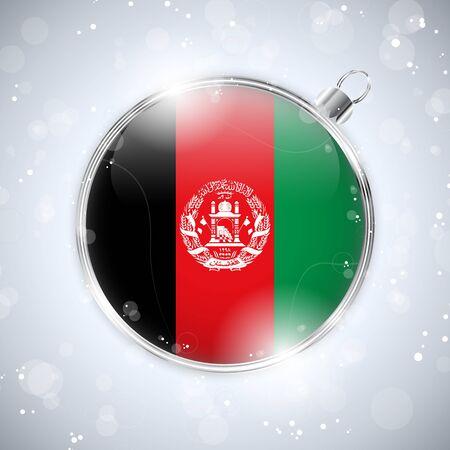 afghanistan: Merry Christmas Silver Ball with Flag Afghanistan Illustration