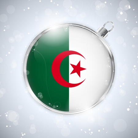 algerian flag: Merry Christmas Silver Ball with Flag Algeria