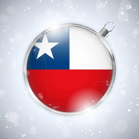 bandera chilena: Feliz Navidad Balón de Plata con la bandera Chile Vectores