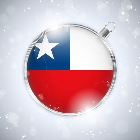 chilean flag: Merry Christmas Silver Ball with Flag Chile