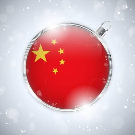 china flag: Merry Christmas Silver Ball with Flag China
