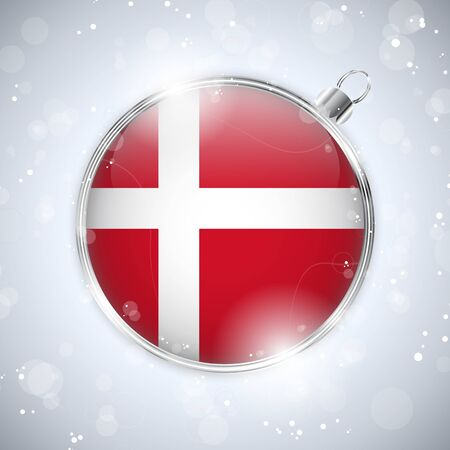 Merry Christmas Silver Ball with Flag Denmark Stock Vector - 16659690
