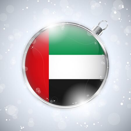 emirates: Merry Christmas Silver Ball with Flag Emirates
