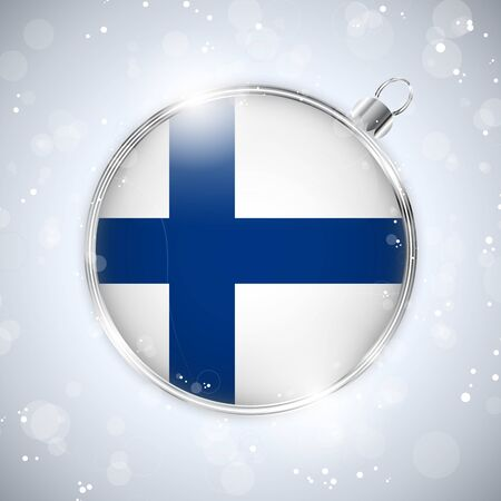 finland: Merry Christmas Silver Ball with Flag Finland