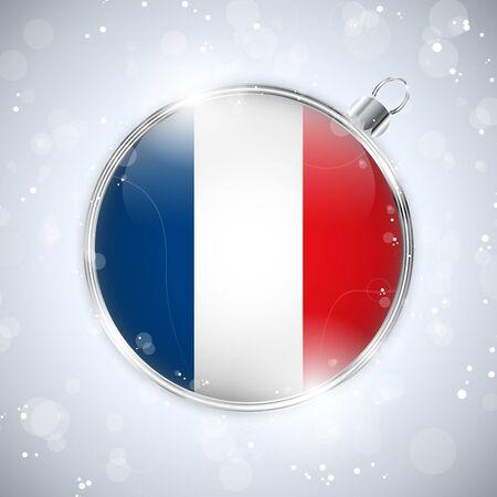 Merry Christmas Silver Ball with Flag France Vector