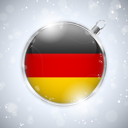 Merry Christmas Silver Ball with Flag Germany Vector