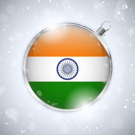 Merry Christmas Silver Ball with Flag India Vector