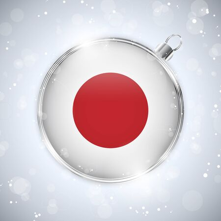 japanese flag: Merry Christmas Silver Ball with Flag Japan