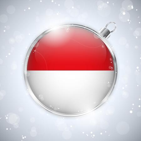 monegasque: Merry Christmas Silver Ball with Flag Monaco
