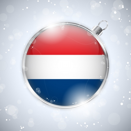 Merry Christmas Silver Ball with Flag Netherlands Stock Vector - 16659662