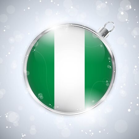 nigeria: Merry Christmas Silver Ball with Flag Nigeria Illustration
