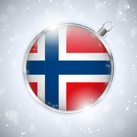 norwegian flag: Merry Christmas Silver Ball with Flag Norway Illustration