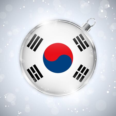 Merry Christmas Silver Ball with Flag South Korea Stock Vector - 16659733