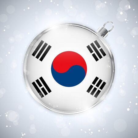 Merry Christmas Silver Ball with Flag South Korea Stock Vector - 16659733