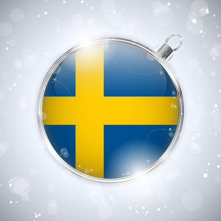 sweden flag: Merry Christmas Silver Ball with Flag Sweden