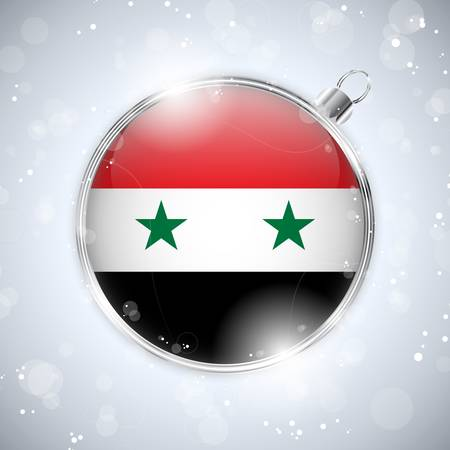 Merry Christmas Silver Ball with Flag Syria Vector